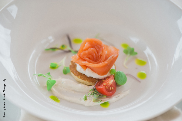 House smoked salmon, fine herbs blini, crème fraiche, and salmon roe- Golden Valley Country Club