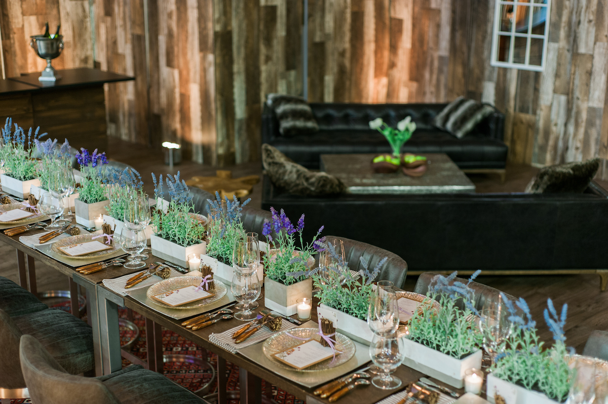 Lavender and greenery wedding centerpieces