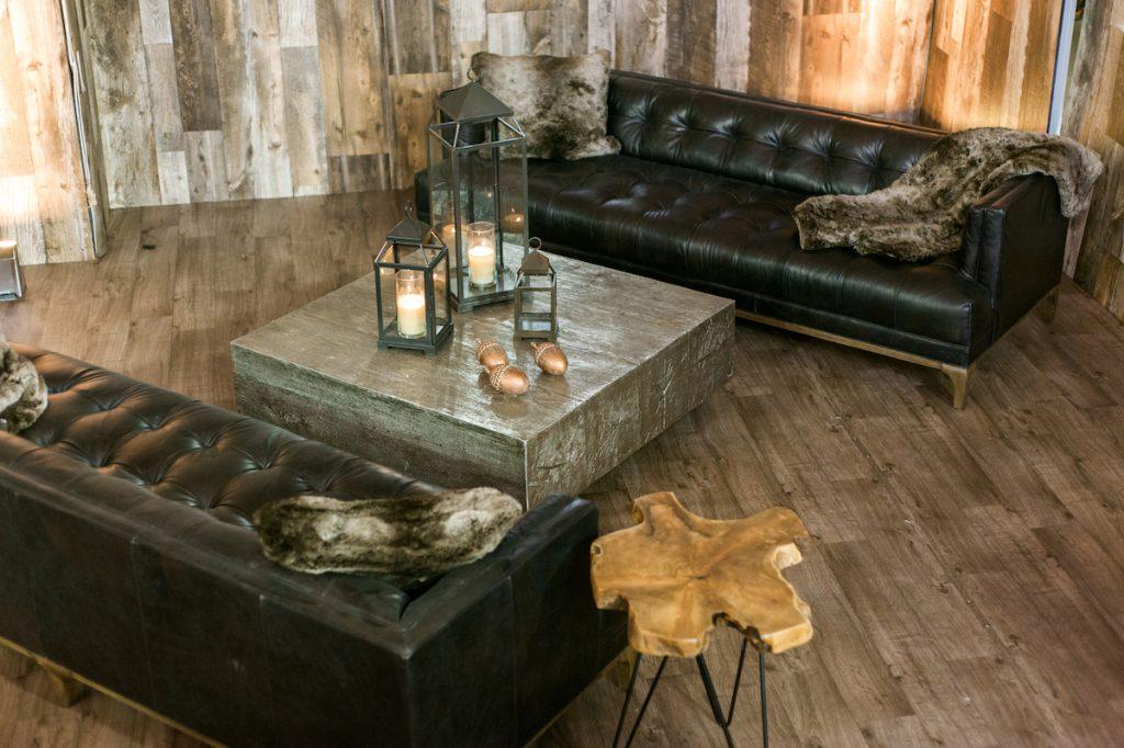 Rustic lodge wedding lounge