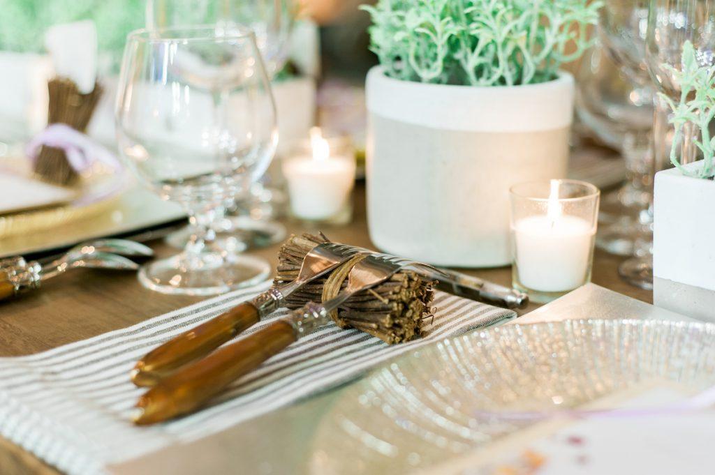 Wood handle wedding flatware