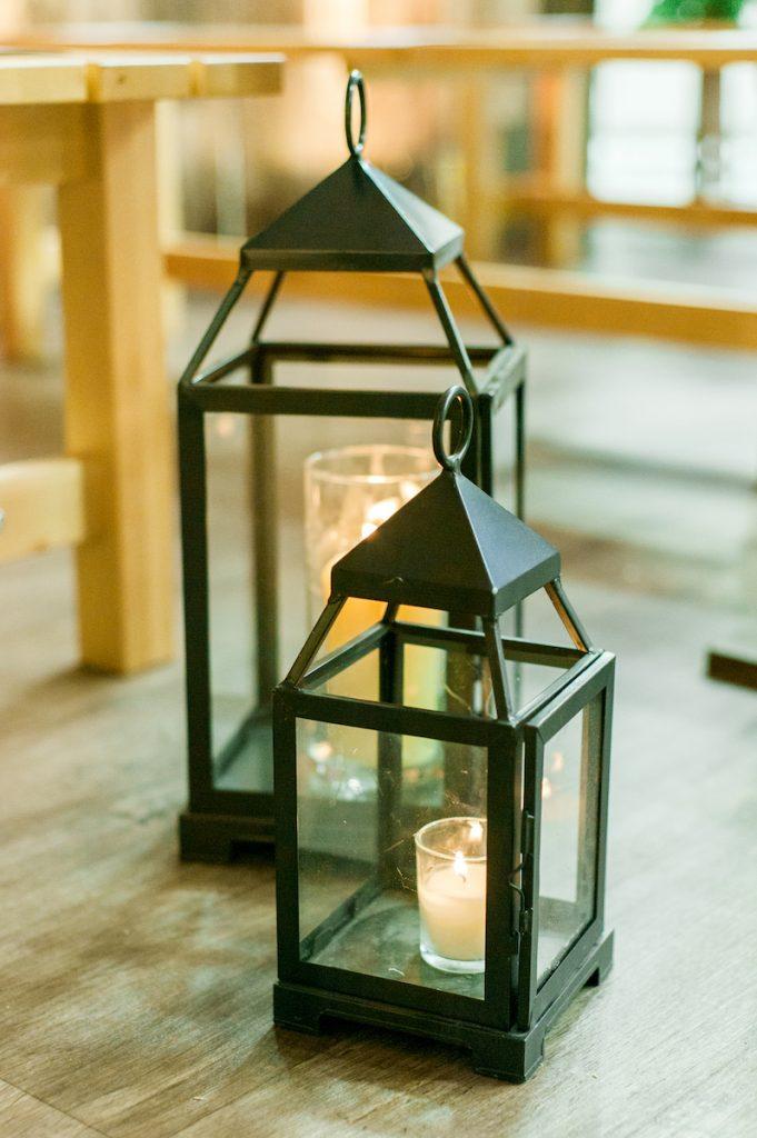 Black lanterns wedding ceremony decor