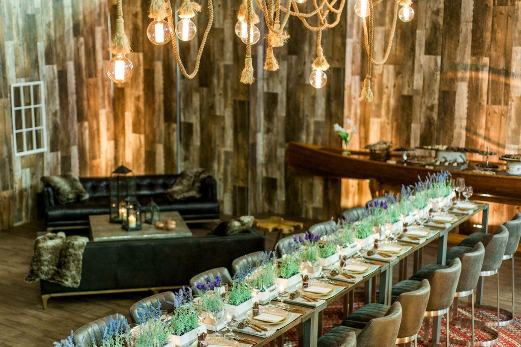 Luxe lodge rustic wedding reception