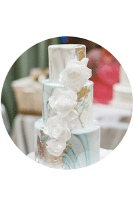 Marble wedding cake at Unveiled Rochester
