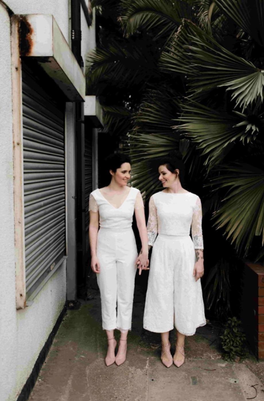 Same-sex wedding looks for brides