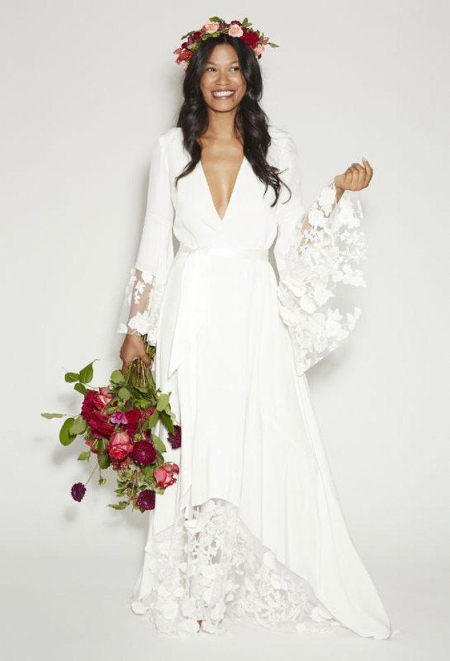 Boho white wedding dress with flower crown