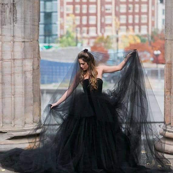 Black strapless wedding dress