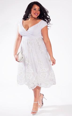 Knee-length off-the-shoulder alternative dress for weddings