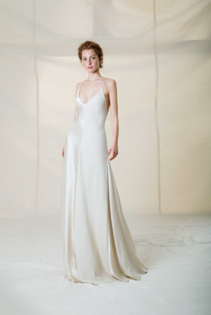 Flowy simple white wedding dress