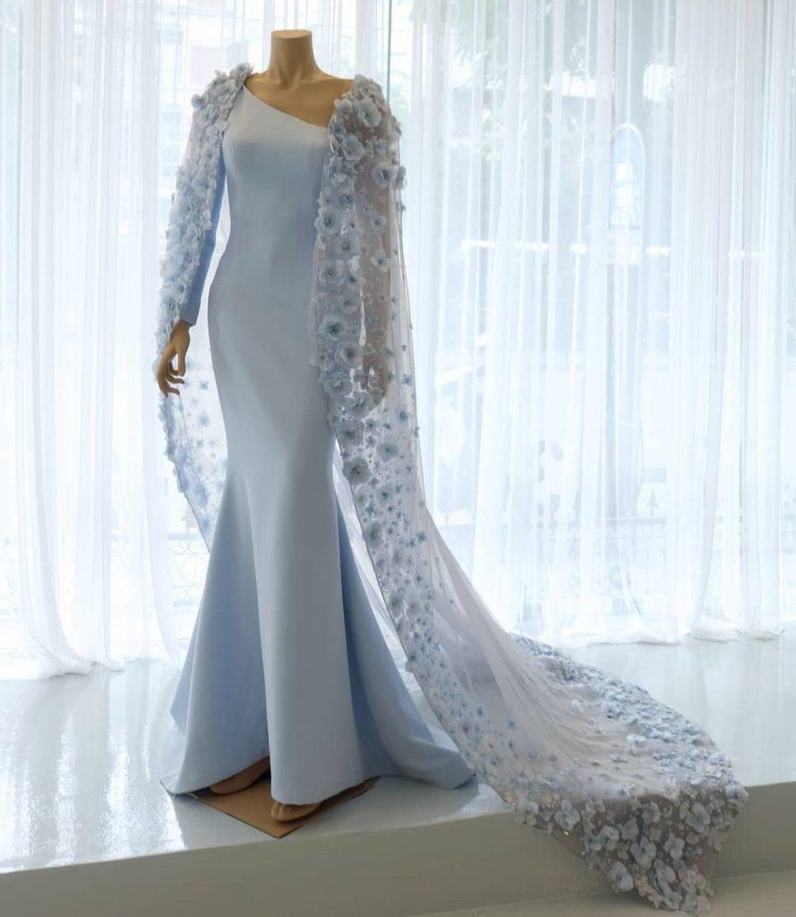 Dusty blue evening gown as wedding dress