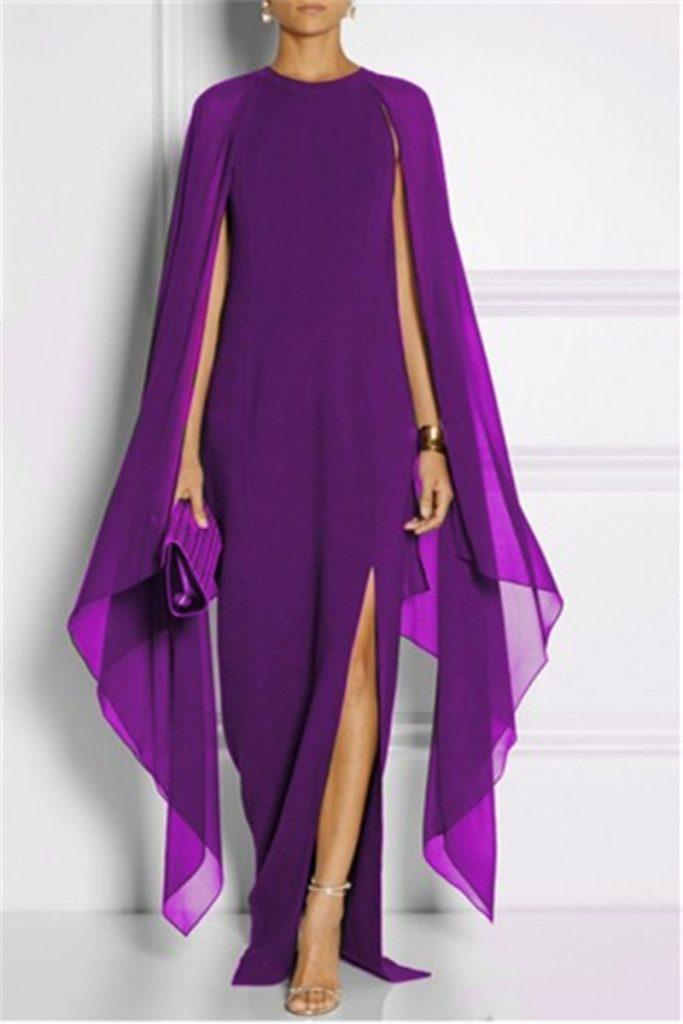 Bright purple floor length dress