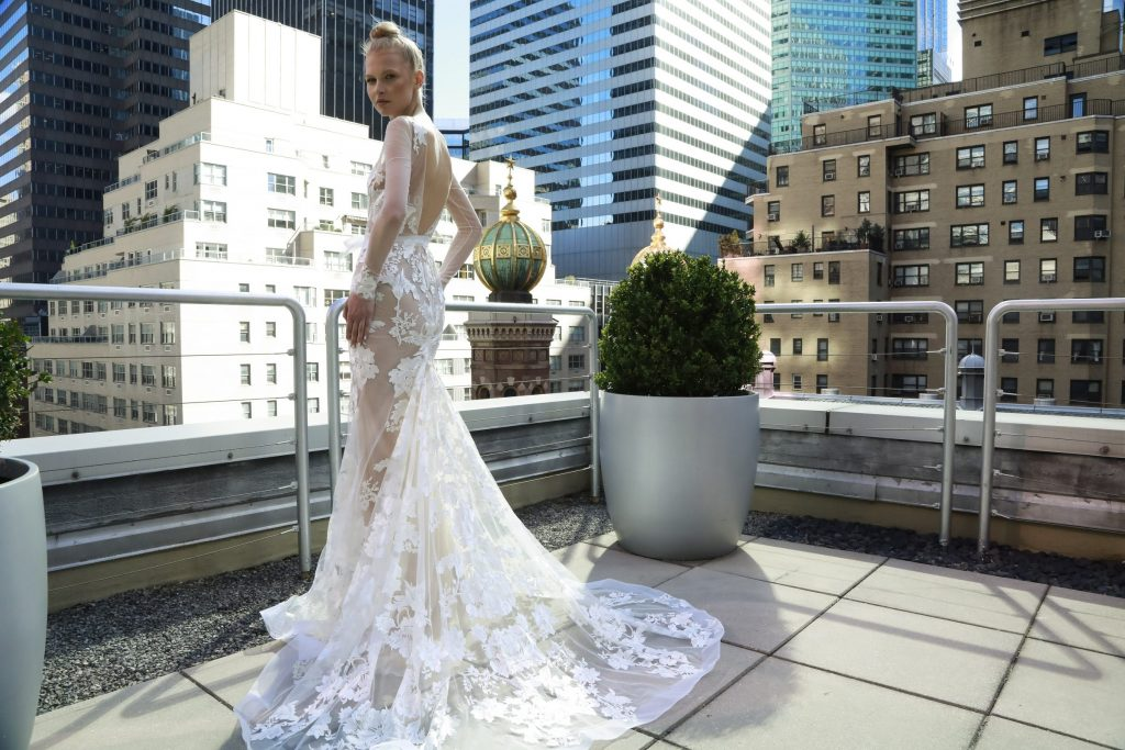 Couture floral applique bridal gown by Eisen Stein Spring 2020 collection