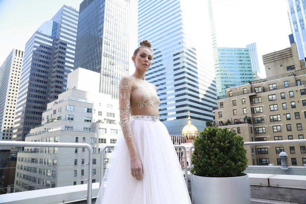Eisen Stein wedding down with tulle empire waist