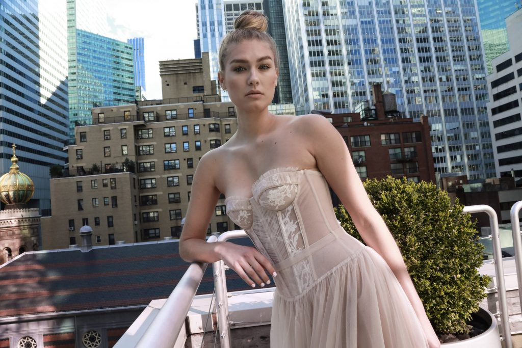 Nude strapless wedding dress