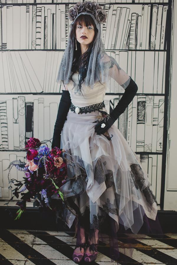 Black and white alternative wedding dress