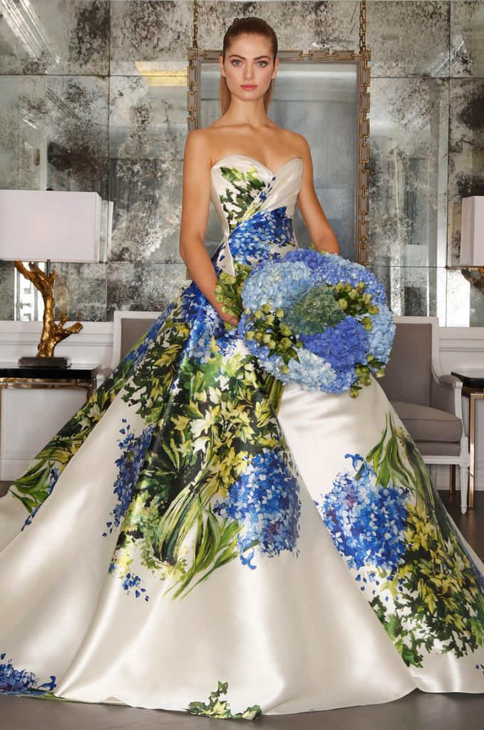 Hand-painted floral sick wedding dress
