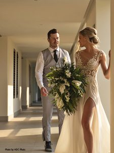 Bride and groom share first look at destination wedding