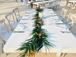 Palm tree and birds of paradise wedding table runner