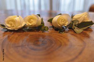 White rose boutonnieres at wedding