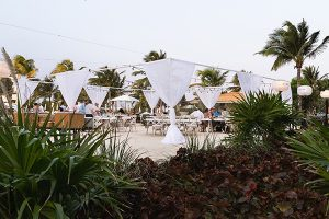 Beach wedding reception in Mexico