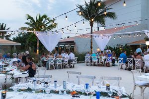 Beach wedding reception setup