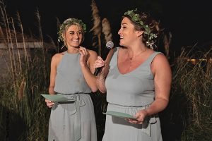 Bridesmaids in sage dresses