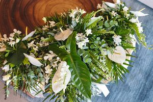 Tropical floral bouquet for destination Mexico wedding