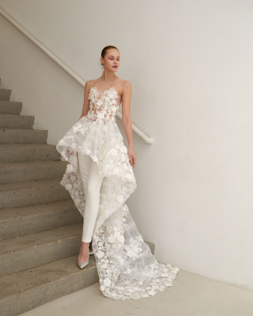 Two-piece wedding dress with overskirt