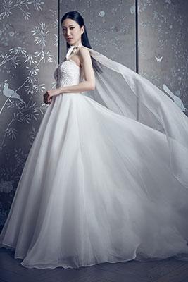 Strapless tulle ballgown bridal dress