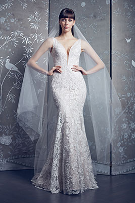 Fit and flare floral applique bridal gown