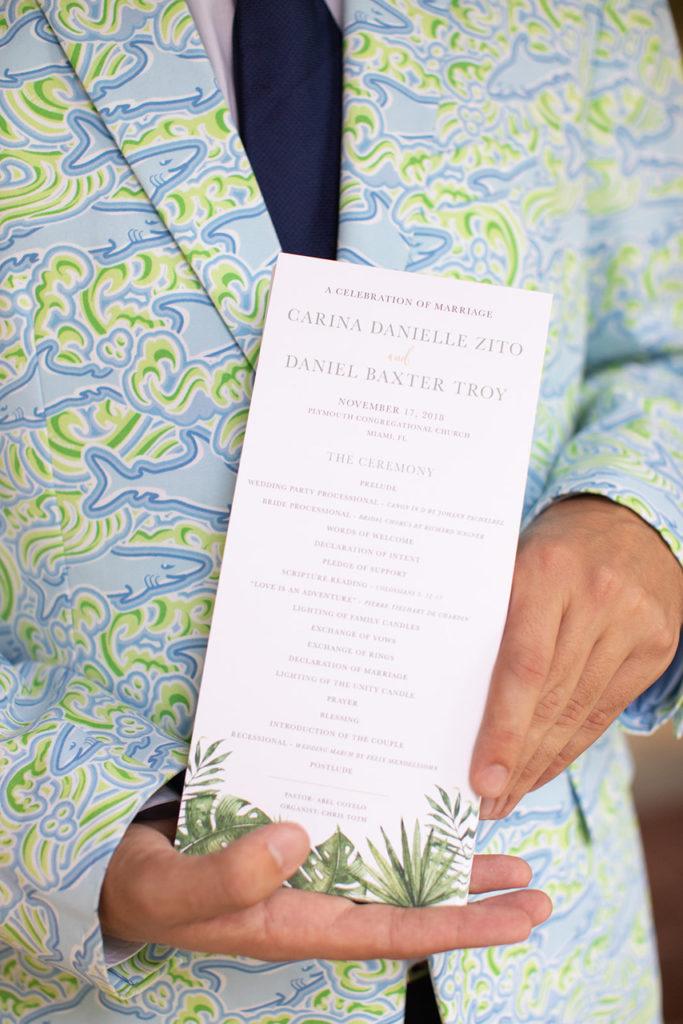 Tropical wedding ceremony program
