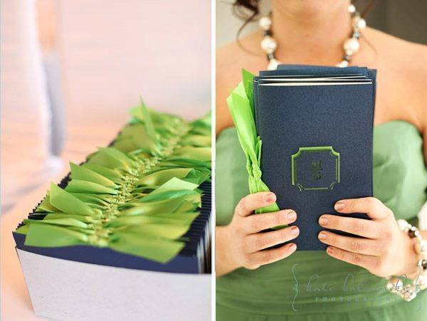Navy wedding ceremony programs with lime green ribbon