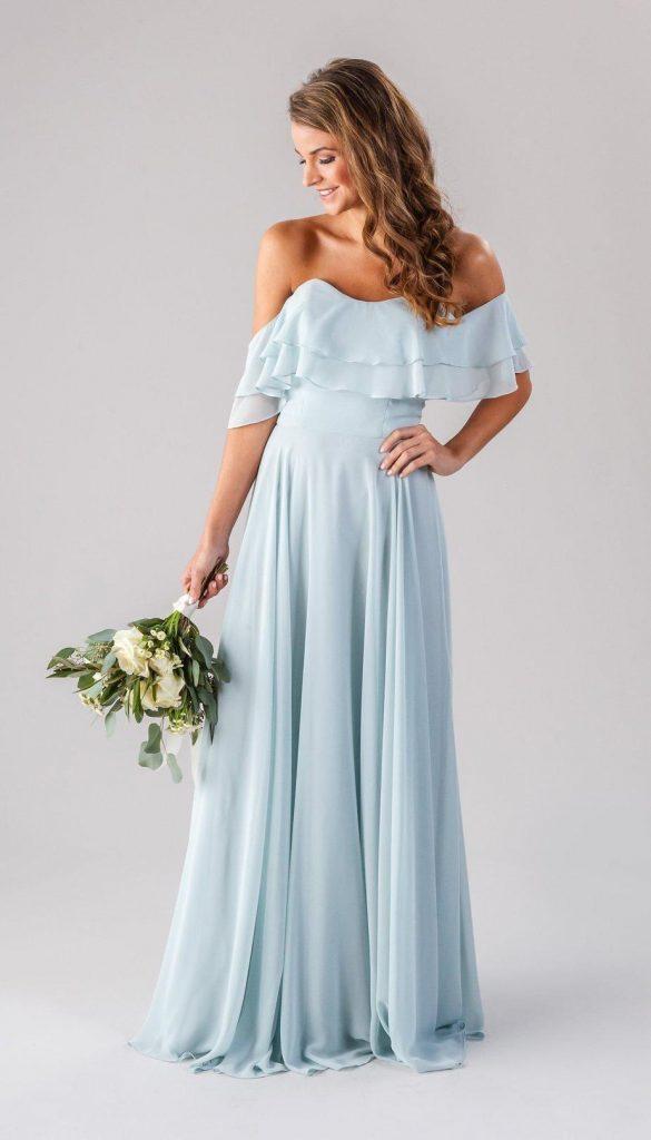 Strapless off-the-shoulder light blue bridesmaid dress