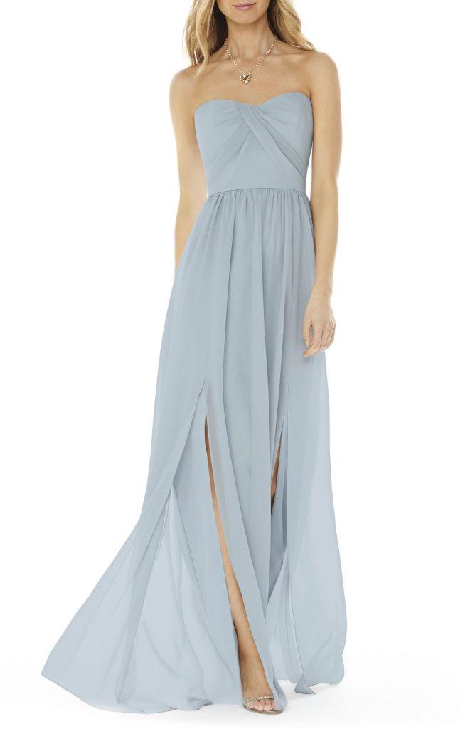 Dusty blue strapless bridesmaid dress