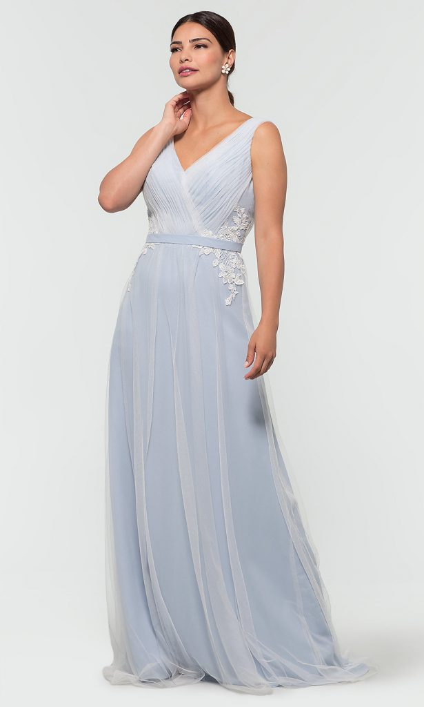 Blue bridesmaid dress with tulle overlay
