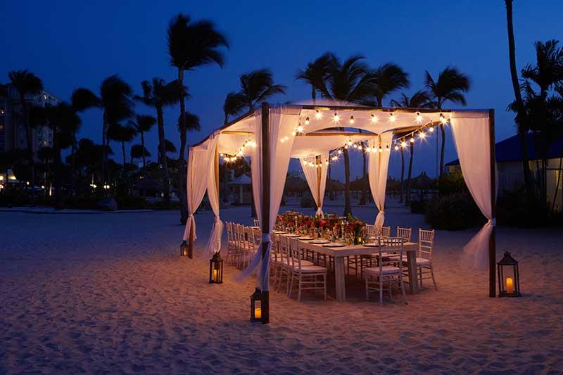 Gazebo private dining set up in Aruba