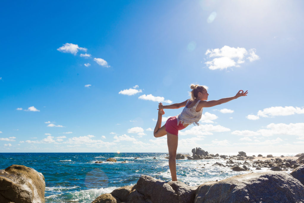 Yoga on the rocks in Aruba