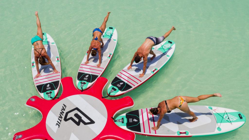 Paddle board yoga in Aruba