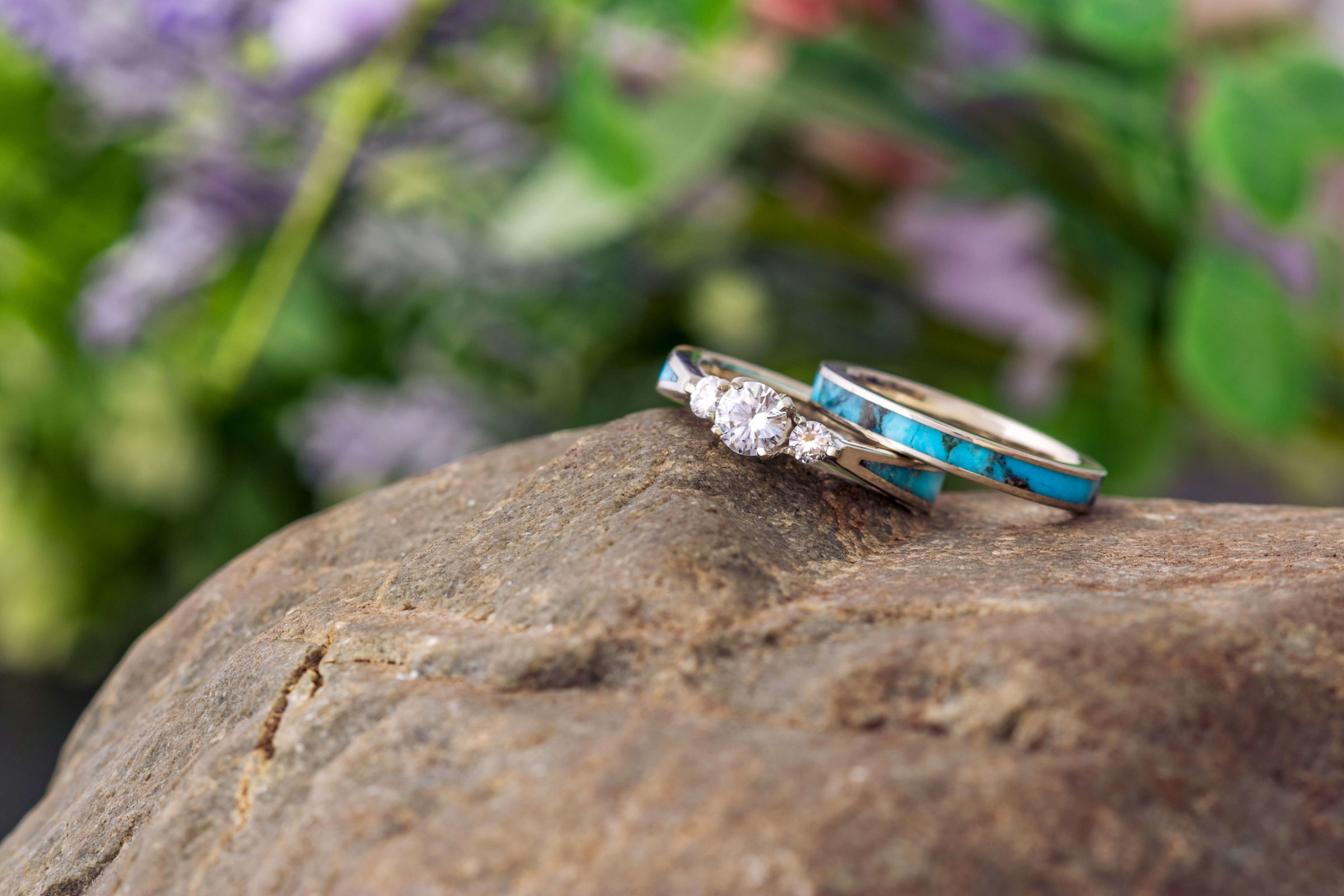 Blue speckled wedding band in choosing a wedding ring to go with an engagement ring