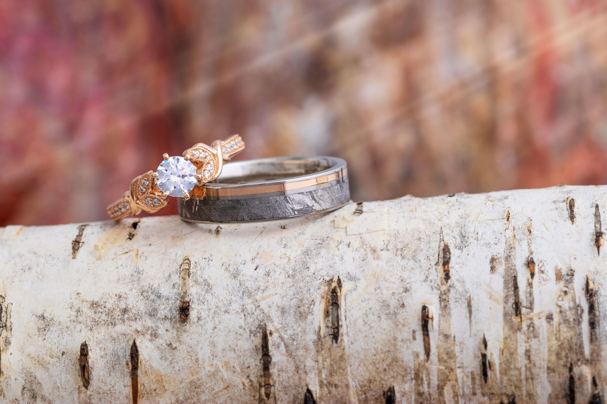 Rose gold coordinating rings