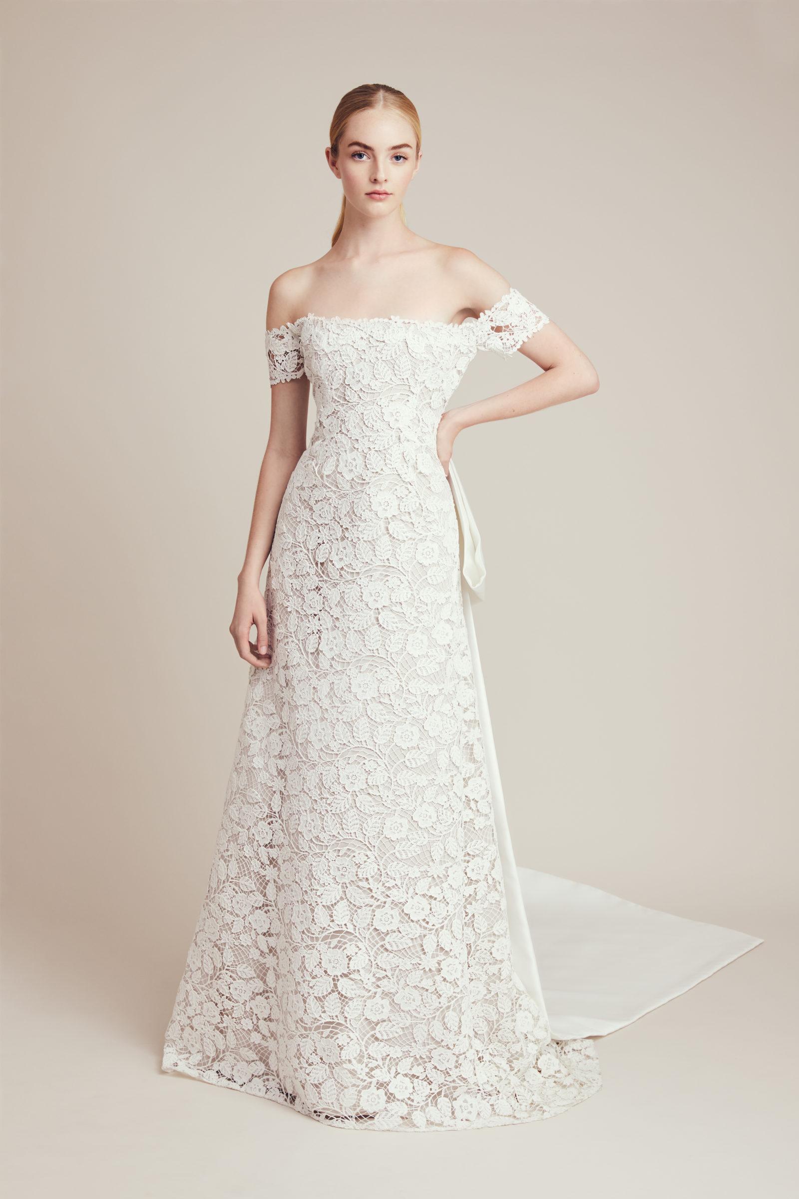Off-the-shoulder embellished bridal gown by Lela Rose