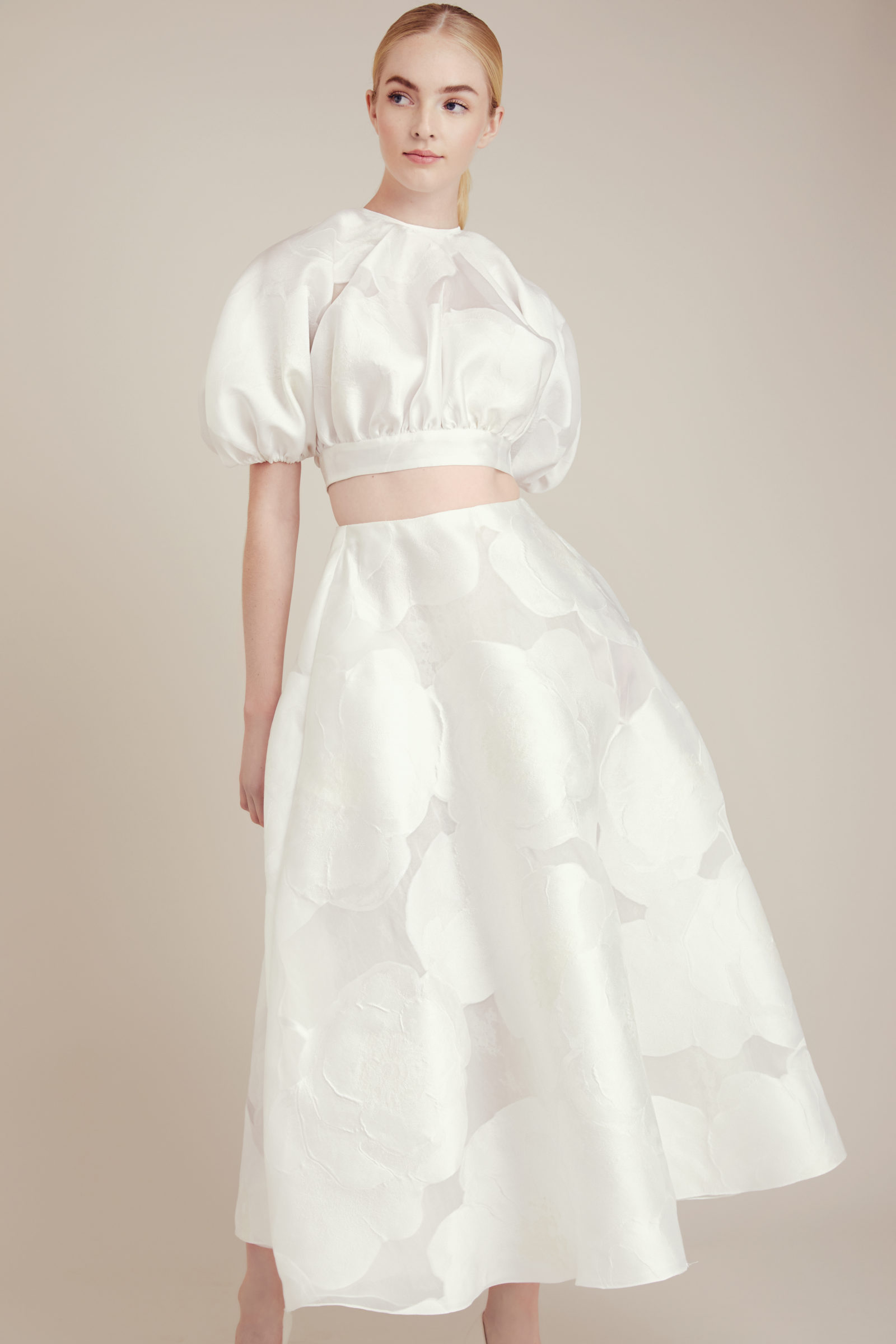 Crop top and skirt bridal outfit
