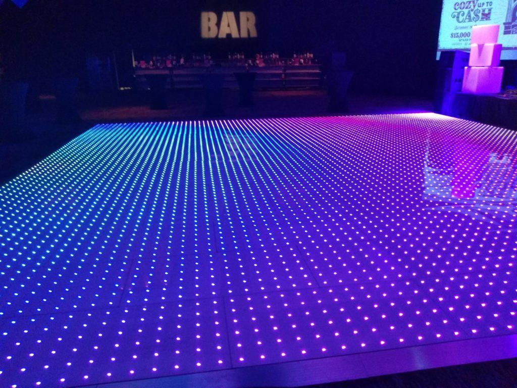 LED light dance floor at wedding