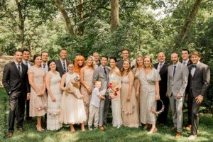 Minnesota Wedding Party in neutral toned outfits
