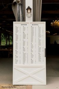 Simple black and white wedding seating chart at Round Barn Farm