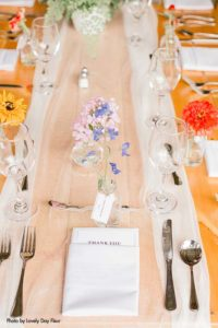 Simple and floral place setting for wedding
