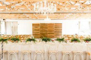Modern and rustic wedding reception set up at Round Barn Farm