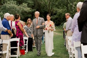 Father walks bride down the aisle at Round Barn Farm