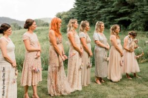 Neutral bridesmaid dresses before wedding
