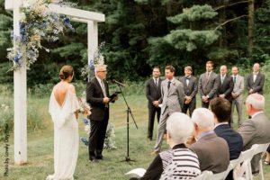 Wedding ceremony at Round Barn Farm