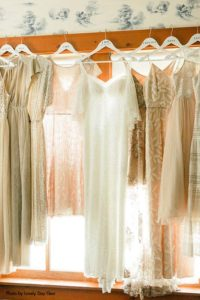 Boho bridal gown with neutral bridesmaids dresses